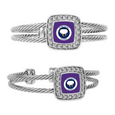 Crystal Studded Cable Cuff Bracelet With Square Pendant-Marching Storm Cloud Circle