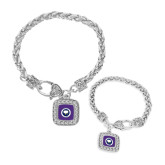 Silver Braided Rope Bracelet With Crystal Studded Square Pendant-Marching Storm Cloud Circle
