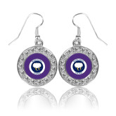 Crystal Studded Round Pendant Silver Dangle Earrings-Marching Storm Cloud Circle