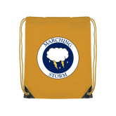 Gold Drawstring Backpack-Marching Storm Cloud Circle