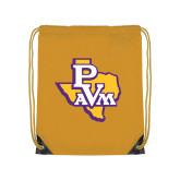 Gold Drawstring Backpack-PVAM Texas