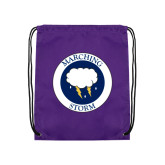 Purple Drawstring Backpack-Marching Storm Cloud Circle