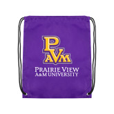 Purple Drawstring Backpack-PVAM Stacked