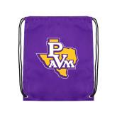 Purple Drawstring Backpack-PVAM Texas