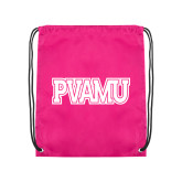 Nylon Pink Drawstring Backpack-PVAMU