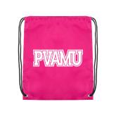Pink Drawstring Backpack-PVAMU