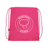 Pink Drawstring Backpack-Marching Storm Cloud Circle