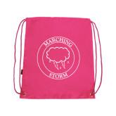 Pink Drawstring Backpack-Marching Storm Cloud Circle