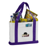 Contender White/Purple Canvas Tote-Official Logo
