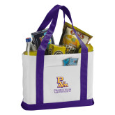 Contender White/Purple Canvas Tote-PVAM Stacked