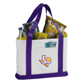 Contender White/Purple Canvas Tote-PVAM Texas