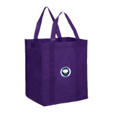 Non Woven Purple Grocery Tote-Marching Storm Cloud Circle