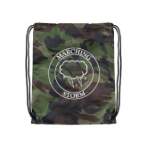 Camo Drawstring Backpack-Marching Storm Cloud Circle