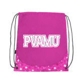 Nylon Pink Bubble Patterned Drawstring Backpack-PVAMU
