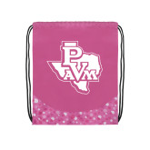 Nylon Pink Bubble Patterned Drawstring Backpack-PVAM Texas