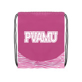 Nylon Zebra Pink/White Patterned Drawstring Backpack-PVAMU