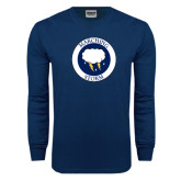 Navy Long Sleeve T Shirt-Marching Storm Cloud Circle