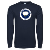Navy Long Sleeve T Shirt-Marching Storm Cloud Circle - Fan
