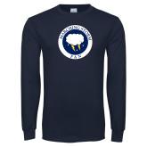 Navy Long Sleeve T Shirt-Marching Storm Cloud Circle - Fan