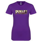 Next Level Ladies SoftStyle Junior Fitted Purple Tee-PVAMU