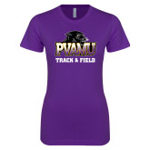 Next Level Ladies SoftStyle Junior Fitted Purple Tee-Track & Field