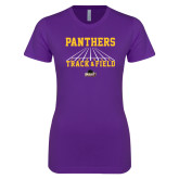 Next Level Ladies SoftStyle Junior Fitted Purple Tee-Track & Field Design