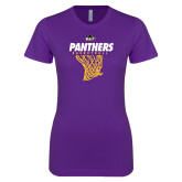Next Level Ladies SoftStyle Junior Fitted Purple Tee-Basketball Design
