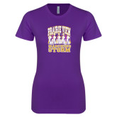 Next Level Ladies SoftStyle Junior Fitted Purple Tee-Praire View marching Storm w/ Majors