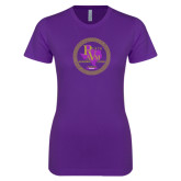 Next Level Ladies SoftStyle Junior Fitted Purple Tee-PVAM Marching Band Seal