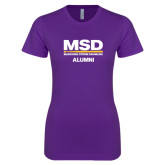 Next Level Ladies SoftStyle Junior Fitted Purple Tee-MSD Alumni