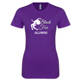 Next Level Ladies SoftStyle Junior Fitted Purple Tee-Black Fox Alumni
