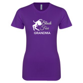 Next Level Ladies SoftStyle Junior Fitted Purple Tee-Black Fox Grandma