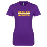 Next Level Ladies SoftStyle Junior Fitted Purple Tee-Old School Marching Storm Stacked