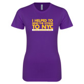 Next Level Ladies SoftStyle Junior Fitted Purple Tee-The Storm To NYC Stacked