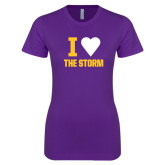 Next Level Ladies SoftStyle Junior Fitted Purple Tee-I Heart The Storm