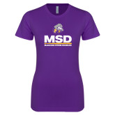 Next Level Ladies SoftStyle Junior Fitted Purple Tee-MSD w/ PVAM Logo