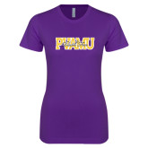 Next Level Ladies SoftStyle Junior Fitted Purple Tee-PVAMU Black Fox Overlap