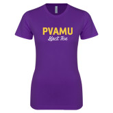 Next Level Ladies SoftStyle Junior Fitted Purple Tee-PVAMU Black Fox Script