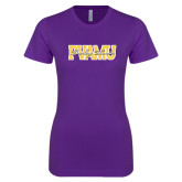 Next Level Ladies SoftStyle Junior Fitted Purple Tee-PVAMU Twirling Thunder Overlap