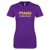 Next Level Ladies SoftStyle Junior Fitted Purple Tee-PVAMU Twirling Thunder Script