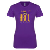 Next Level Ladies SoftStyle Junior Fitted Purple Tee-I LOVE MY HBCU