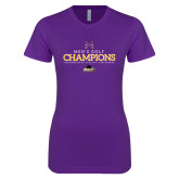 Next Level Ladies SoftStyle Junior Fitted Purple Tee-2018 Mens Golf Champions
