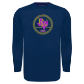 Under Armour Navy Long Sleeve Tech Tee-PVAM Marching Band Seal