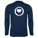 Performance Navy Longsleeve Shirt-Marching Storm Cloud Circle