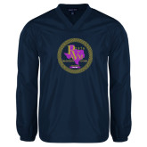 V Neck Navy Raglan Windshirt-PVAM Marching Band Seal
