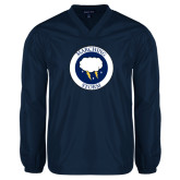 V Neck Navy Raglan Windshirt-Marching Storm Cloud Circle