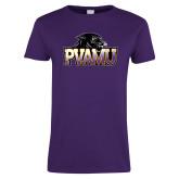 Ladies Purple T Shirt-Official Logo Distressed