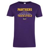Ladies Purple T Shirt-Track & Field Design