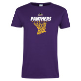 Ladies Purple T Shirt-Basketball Design