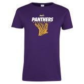 Ladies Purple T Shirt-Basketball Design
